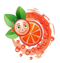 Slice of grapefruit with leafs and a smiley face vector image vector image