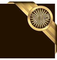 VIP Gold Ribbon Label vector image