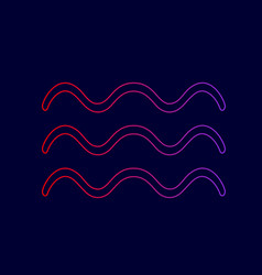 waves sign line icon with vector image