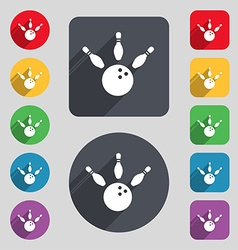 bowling icon sign A set of 12 colored buttons and vector image