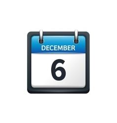 December 6 calendar icon flat vector