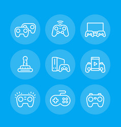 gamepads line icons set vector image vector image