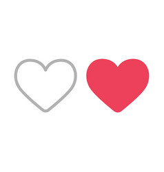 heart icons filled and outline like symbols vector image vector image