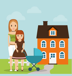 Mother daughter and baby carriage house vector