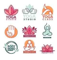 Set of yoga and meditation graphics and logo vector image vector image