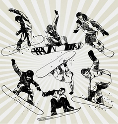 snowboarders vector image vector image