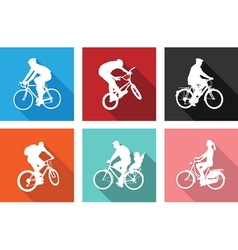 flat icons bicyclists vector image