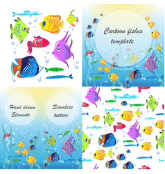 flyer with linear silhouettes of underwater vector image