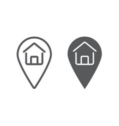 home location line and glyph icon real estate vector image