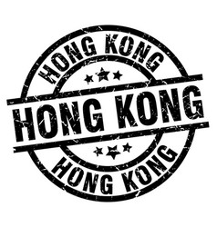 hong kong black round grunge stamp vector image vector image