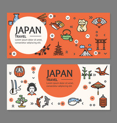 Japan travel flyers placrad banners set vector