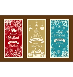 Merry Christmas and Happy New Year labels vector image vector image