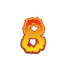 Number 8 fire flames font eight tattoo alphabet vector