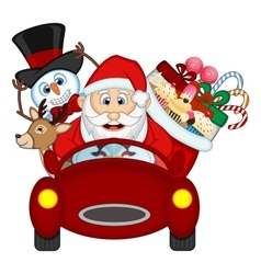 Santa Claus Driving a Red Car Along With Reindeer vector image