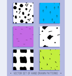 set of 6 handdrawn seamless patterns vector image