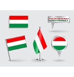 Set of Hungarian pin icon and map pointer flags vector image vector image