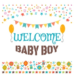 Welcome baby boy Announcement card Baby shower vector image