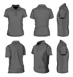 Mens black short sleeve polo-shirt vector image vector image