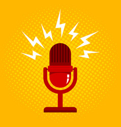 microphone on halftone background vector image vector image