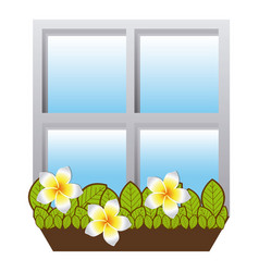 realistic closed window frame with plants vector image vector image