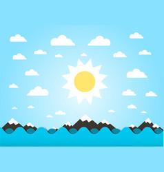 sea waves with sun flat design cartoon vector image vector image