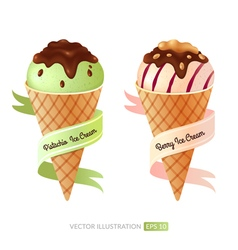 Set with ice cream vector image