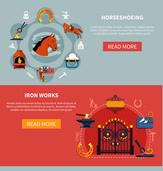 shoeing horses forgings banners vector image