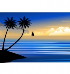 suset beach vector image