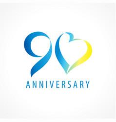 90 anniversary logo heart vector image