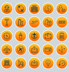 Airport icons set collection of flight path vector