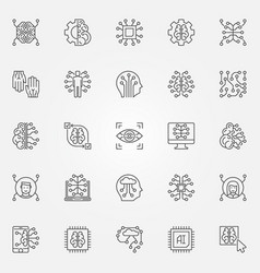 artificial intelligence outline icons set ai vector image