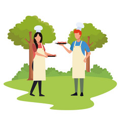 Avatar man and woman with food vector