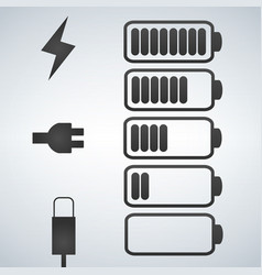 battery icon charge from high to low plug vector image
