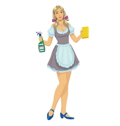 Beautiful girl maid cleaner vector