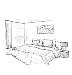 Bedroom doodles interior sketch vector image