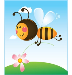 Bee and flower color vector