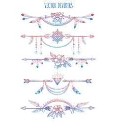 bohemian dividers with arrows and flowers vector image