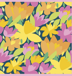 Bold colorful spring flowers pattern vector