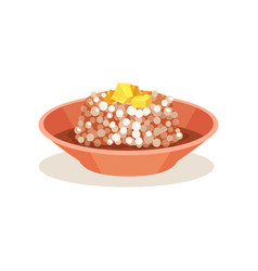 Bowl of sago pudding with butter on top malaysian vector