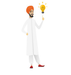 Businessman pointing at business idea bulb vector