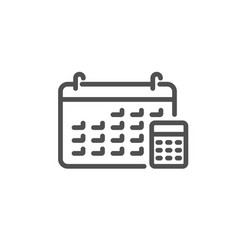 calendar with calculator line icon accounting vector image