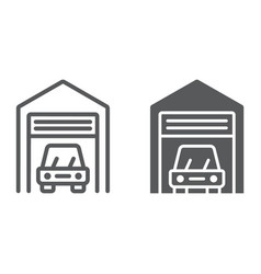Car garage line and glyph icon automobile vector
