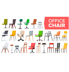 chair set office modern desk chairs vector image
