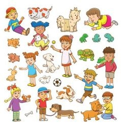 Child and pet cartoon vector