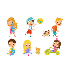Children playing and having fun with toys vector