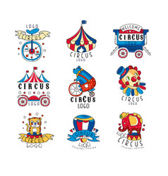 circus logo design set colorful emblems for vector image