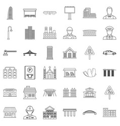 City council icons set outline style vector