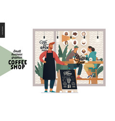 Coffee shop - small business graphics - cafe owner vector