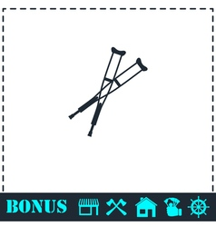 Crutches icon flat vector