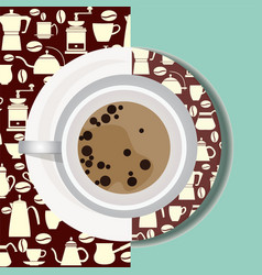 cup with hot drink flat icon vector image